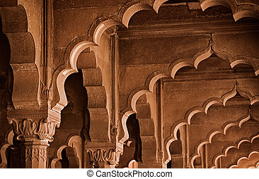 Stone arch India, Delhi - Interior parts of the building -...
