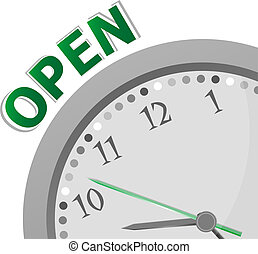 opening hours sign with modern clock - 24 hours 7 day