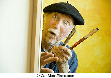 Artist with a Beret at a Canvas looking at model - Elderly...