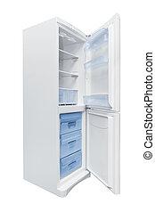 Opened Refrigerator isolated on white background