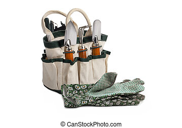 gardening tool bag and gloves - Gardening tool bag with...