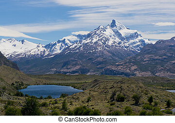 Lakes and Andes from Estancia Cristina - Panoramic view of...