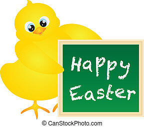 Happy Easter Chick with Chalkboard Illustration - Yellow...