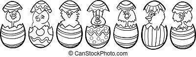 Pollos, Pascua, huevos, caricatura, colorido