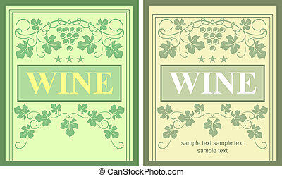 Wine labels with grape elements for beverage design