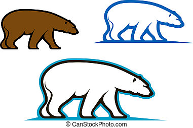 Wild bears emblems and silhouettes for mascot design
