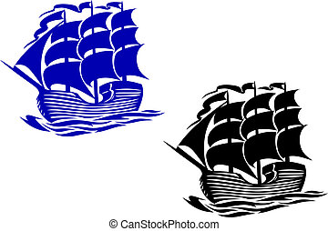 Brig sail ship in ocean water for travel or another design