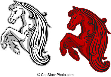 Mustang mascot - Wild mustang in white and red color for...