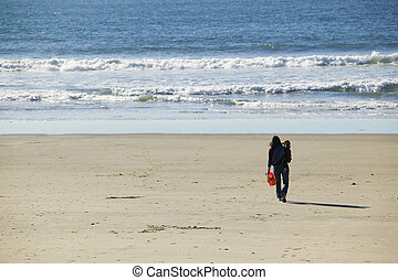 Mother and Child Walking to the Ocean - Wides shot of a...