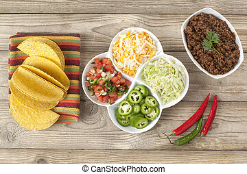 mexican tacos ingredients - Top view image of mexican tacos...