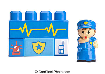 police station concept with police woman mini-figure