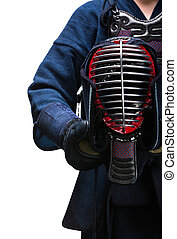 Close up of kendo helmet in hands of kendoka, isolated on...