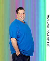 Happy fat man with a colorful background