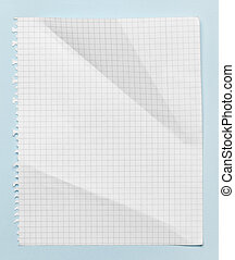 Squared crumpled sheet of paper, isolated on blue