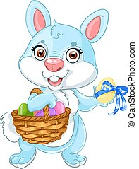 Cute easter bunny with basket eggs