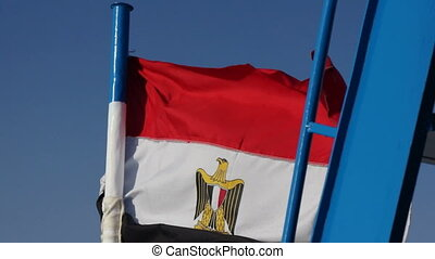 Flag of Egypt and blue sky - Flag of Egypt and sky
