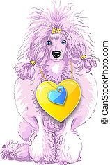 vector pink Poodle dog with gold heart - vector color sketch...