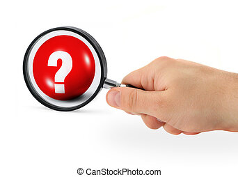 question concept - hand with magnifying glass