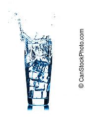 隔離された, 水, ガラス, はね返し, 背景, 白