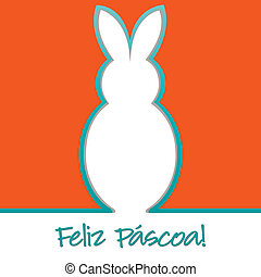 """Happy Easter - Portuguese """"Happy Easter"""" bright bunny cut..."""