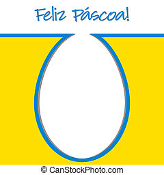 """Happy Easter - Portuguese """"Happy Easter"""" bright egg card in..."""