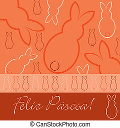 """Happy Easter - Portuguese """"Happy Easter"""" hand drawn bunny..."""