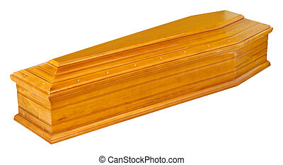 Wooden coffin in perspective - isolated