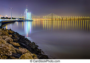 Lisbon Expo at night, Portugal - Lisbon Expo at night with...