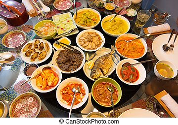 Feast of Asian food delicacies