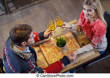 romantic evening date in restaurant happy young couple with...