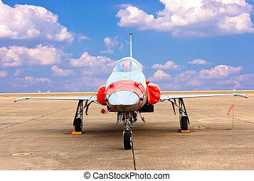 F 16 fighter aircraft against blue sky