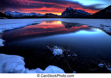 Sunset Mount Rundle Vermillion Lakes in Winter