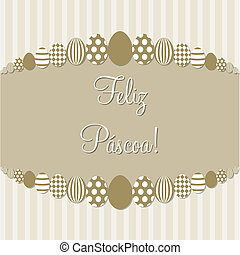 Happy Easter - Gold Portuguese 'Happy Easter!' card in...