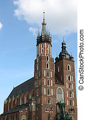 St. Mary\\\'s church, Krakow. - Side view of the St....