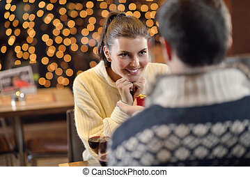 young man gives a gift to girl - The young man gives a...