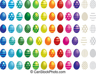 Happy Easter - 72 Easter eggs in vector format.