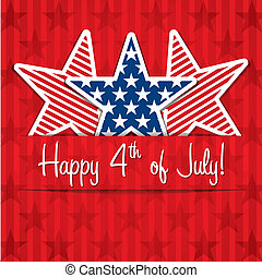 Happy 4th July! - Happy 4th of July sticker cards in vector...
