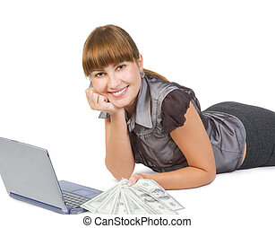 Successful businesswoman with dollars and laptop isolated on...