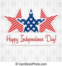 Happy 4th July - Happy Independence Day star card in vector...