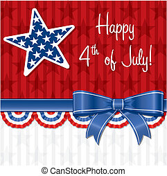 Happy 4th July - Ribbon Happy Independence Day card in...