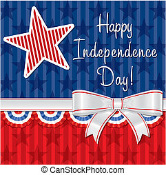 Happy 4th July! - Ribbon Happy Independence Day card in...