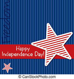 Happy 4th July! - Happy Independence Day star cut out card...