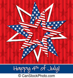Happy 4th July - Happy 4th of July patterned star card in...