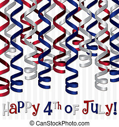 Happy 4th July - Happy 4th of July curling ribbon card in...