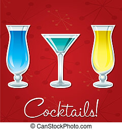 Cocktails! - Bright retro cocktail card in vector format.