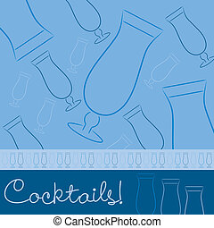 Cocktails! - Hand drawn cocktail card in vector format.