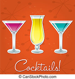 Cocktails - Bright retro cocktail card in vector format