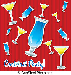 Cocktails - Bright retro cocktail hour sticker card in...