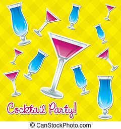 Cocktails! - Bright retro cocktail hour sticker card in...