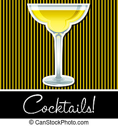 Cocktail! - Yellow retro cocktail card in vector format.